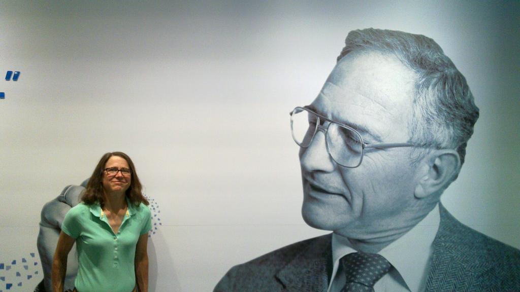 Alison with gigantic Bob Noyce photo backdrop.