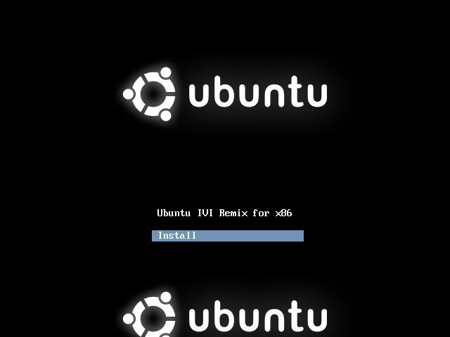 Ubuntu IVI Remix first installation screen